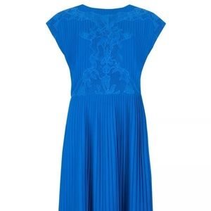 Blue Ted Baker Pleated Chiffon Saskiah Dress 1