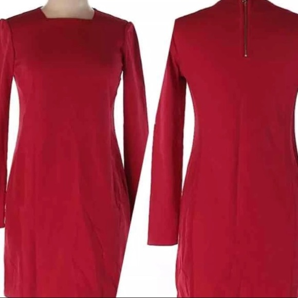 872f9a33790347 Ted Baker London Red Long Sleeved Holiday Dress. M 59fe13dd6d64bc3b13094d8f