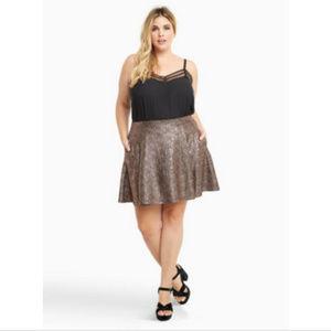 Torrid Metallic Copper Foil Skater Skirt Size 4X