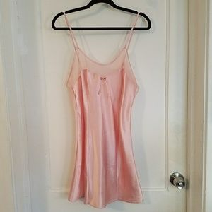 VTG pink satin slip dress
