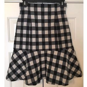 NEW! Tracy Reese Black Ivory Plaid Skirt Size 4