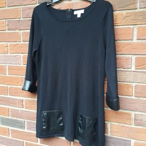 Black tunic with pleather accent