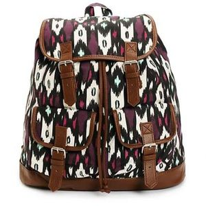 Handbags - Mint and Magenta print w Brown Trim Rucksack