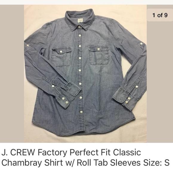 6d6e0267 J. Crew Tops | J Crew Factory Perfect Fit Classic Chambray Shirt ...