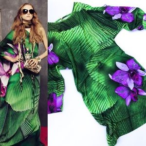 Roberto Cavalli Purple & Green Bead Back Dress