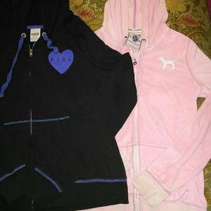 2 older PINK zip up hoodies sz s & med