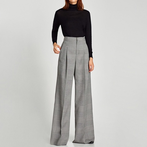casual shoes largest selection of 2019 popular brand Zara Plaid High Waisted Wide Leg Pants *NEW*