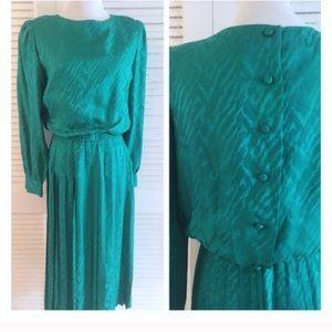 Vintage Silk Secretary Dress, Button Down Back