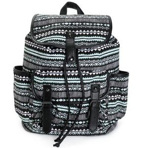 Handbags - Mint and Black Print w Black Trim Backpack