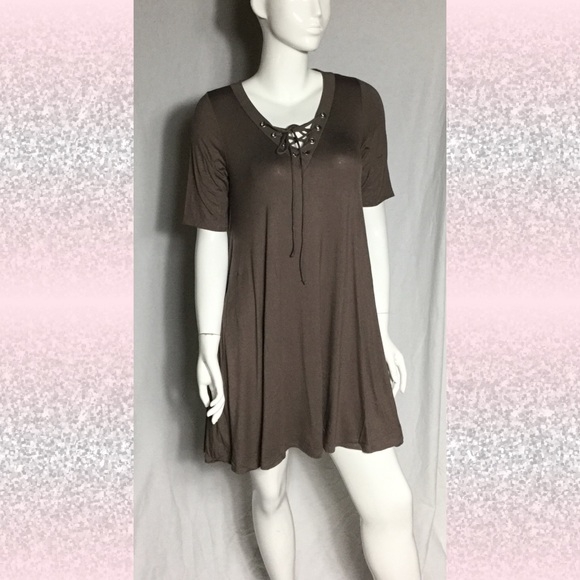 fd1c96565a24 Lace up swing dress coffee color S and M nwt