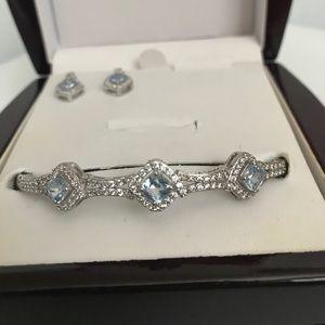 NIB Aquamarine Birthstone Earrings & Bracelet Set