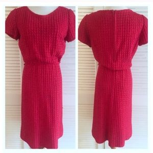 Vintage 1950's Red Ribbon Wiggle Dress! Medium