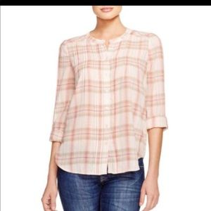 Joie pink pleated plaid button Down Top Size XS