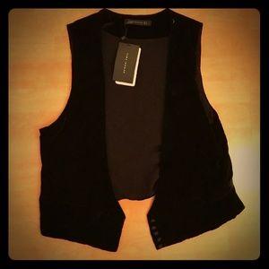 Zara black velvet vest NWT L
