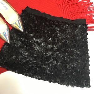 Crushed fur mini skirt