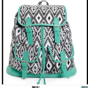 Handbags - Black and White w Mint Trim Backpack