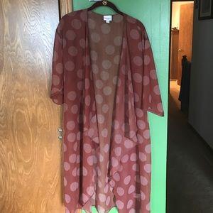 LulaRoe Burgundy Sheet Shirley Kimono