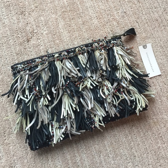 877c49296d97 Anthropologie Bags | Nwt Leather And Beaded Fringe Zip Clutch | Poshmark