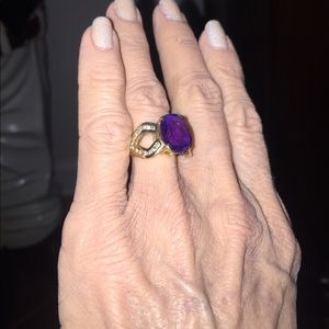 Jewelry - Approx 5 carat amethyst and diamond ring