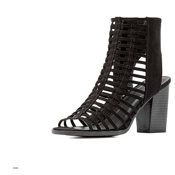 "2b6ec1c7b26 ""Kyla"" Open Toe Caged Sandal w/ stacked heel"