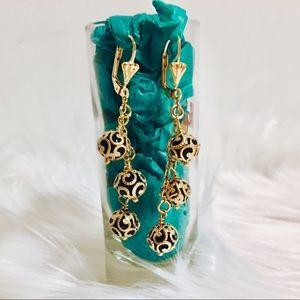 Jewelry - Swarovski Gem 18k Yellow Gold-Filled Earrings