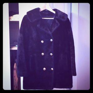 Amazing vintage faux fur pea coat . Size M