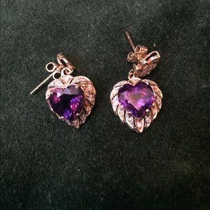 Jewelry - 3 carat amethyst and diamond earrings.