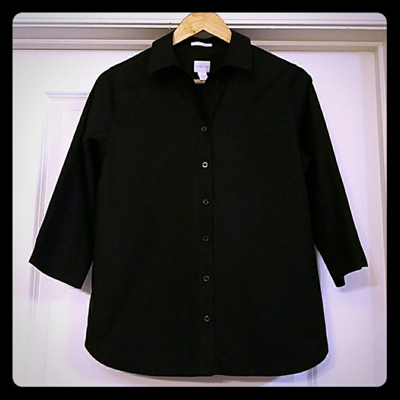 75 off chico 39 s tops chico 39 s black no iron button down for Chicos no iron shirts