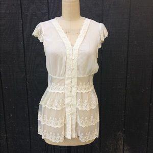 Adiva Cream Lace Button Up Blouse Sz M