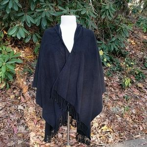 Jackets & Blazers - Black Felted Wool Wrap/Cape with Hood