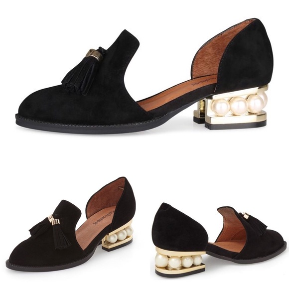e841d2fc476 Jeffrey Campbell Shoes - Jeffrey Campbell Civil Pearl Heeled Black Loafers