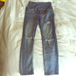 H & m mama ripped skinny ankle maternity jeans sz6