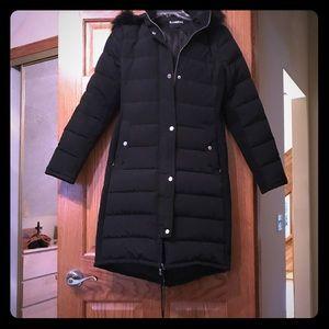 NWOT Express black long down coat sz small