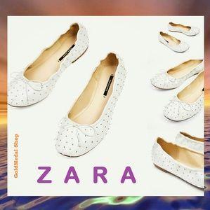ZARA White Studded New Ballerinas
