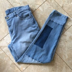 H&M Divided Denim Patchwork Cropped Jeans