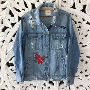 Jackets & Blazers - Hidden Embroidered Distressed Denim Jean Jacket