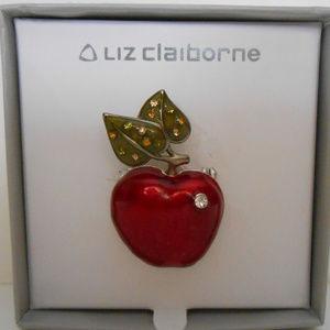 Liz Claiborne Red Apple Pin Brooch W/ Rhinestones