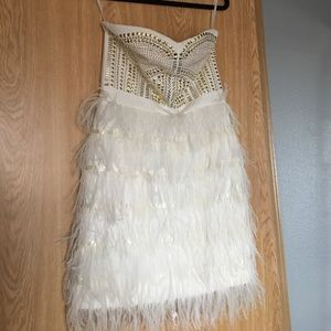 Dresses & Skirts - White feather tube dress gold accents size M