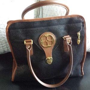 IMAN  Hollywood Glamour Handbag, Black & Camel