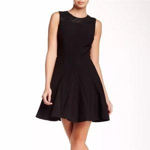 NEW! Halston Heritage Leather Trim Flare Dress Sz0