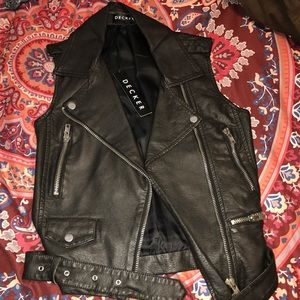 Leather jacket vest