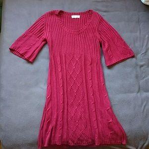 Pink Rose Sweater Dress