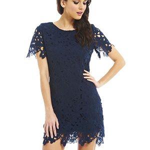 Navy Raw Hem Floral Crochet Shift Dress