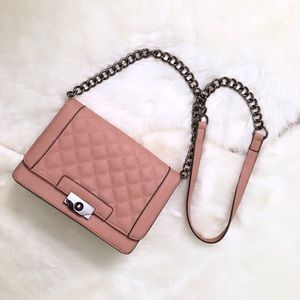 New Blush Quilted Crossbody Bag