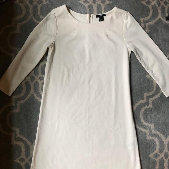 3727314c1c9a8 H&M Dresses | Hm Cream Off White Long Sleeve Shift Dress Xs | Poshmark