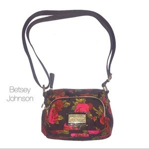 Betsey Johnson Black Red Floral Cross body Purse