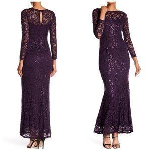 Marina Purple Long Sleeve Lace Sequin Dress