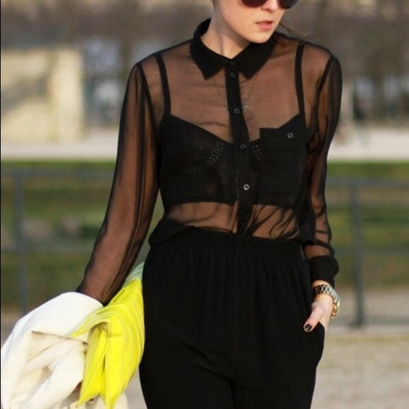 1a8f7755 Forever 21 Tops - Forever 21 Sheer Black Button Down Blouse