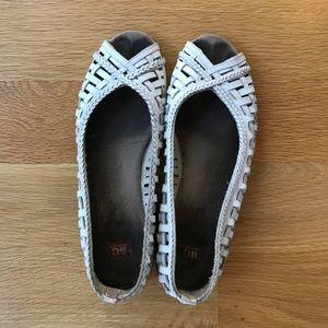 White woven leather peeptoe sandals
