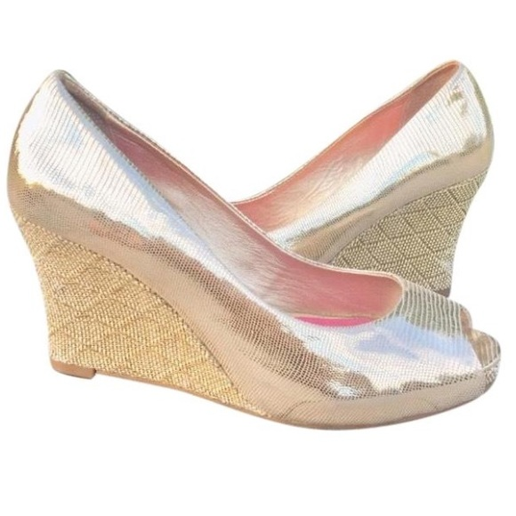 75f378e38e85 Lilly Pulitzer Shoes -  SALE  Lilly Pulitzer Gold Wedge Peep Toe Shoes